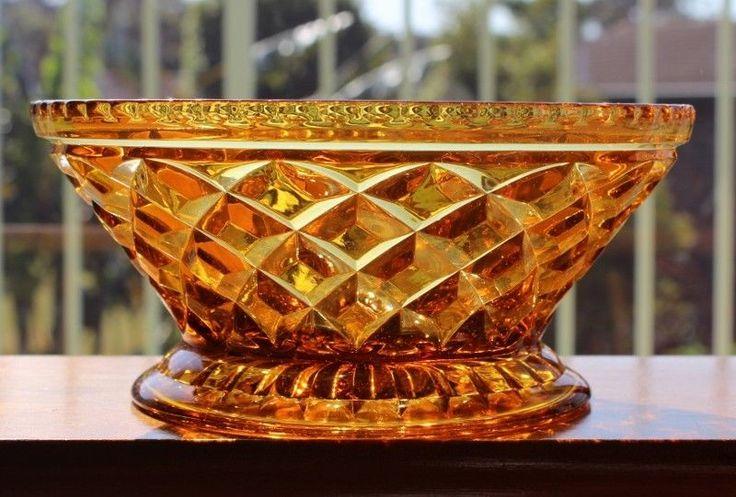Beautiful Amber DEPRESSION Glass Sowerby Bowl Lattice Pattern Circa 1933 #DEPRESSION
