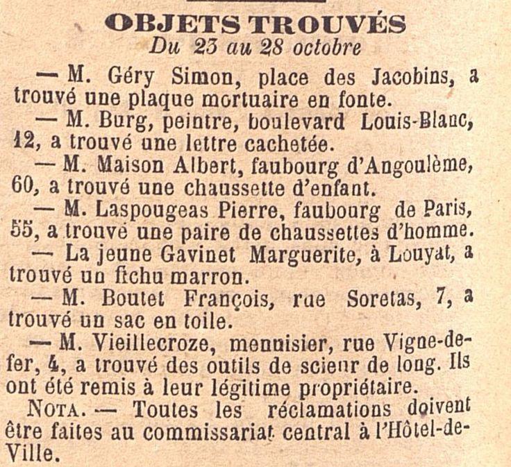 """""""Objets trouvés du 23 au 28 octobre"""", extrait de la Gazette du Centre, 1893"""