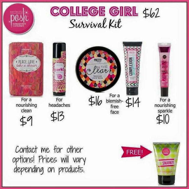 College Girl Survival Kit www.perfectlyposh.com/emunoz  Try Before You Buy!! Poshology101@yahoo.com