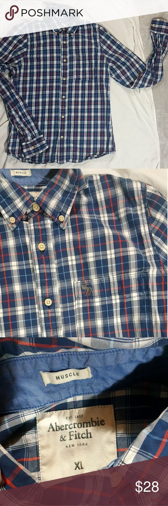 ABERCROMBIE &FITCH MEN MUSCLE BUTTON UP ABERCROMBIE &FITCH MEN MUSCLE BUTTON UP  Sz XL Abercrombie & Fitch Shirts Casual Button Down Shirts