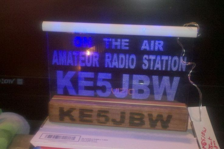 Midknight blue acryl ham radio call sign base light from Casting Shadows Engravi #CastingShadowsEngraving