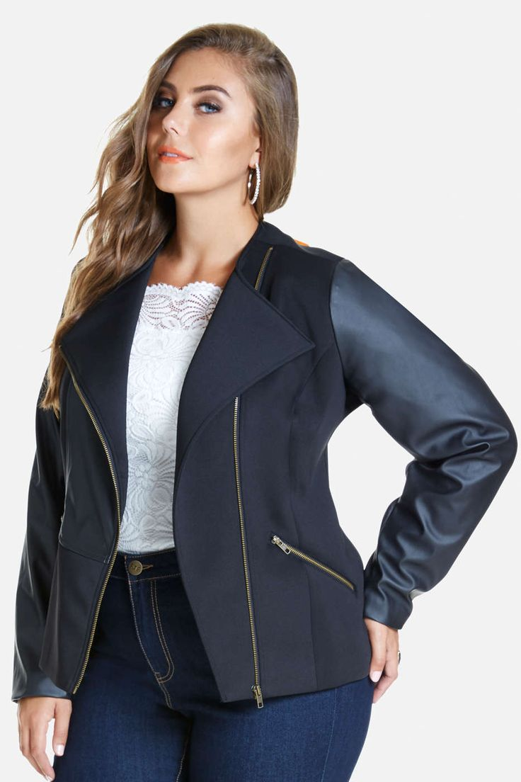 Plus Size Rocker Faux Leather Sleeve Moto Jacket