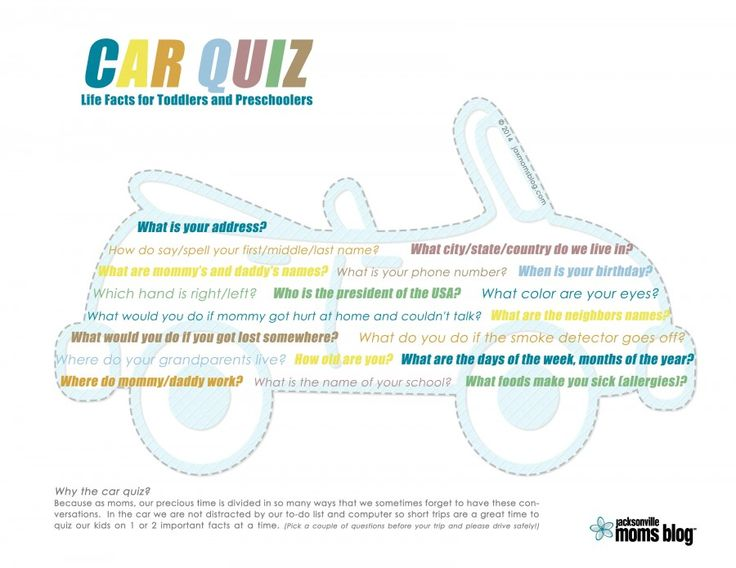 Life facts car quiz for toddlers and preschoolers