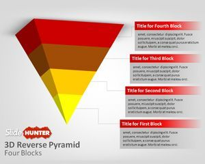 Free Reverse 3D Pyramid template and diagram is an awesome and creative slide design with a 3D pyramid design presented in reverse mode