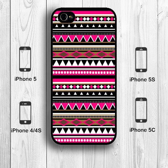 Pink Aztec iPhone 5S Case, Shocking Pink Aztec Print Geometric Tribal Pattern iPhone 5C Case iPhone 5 Case iPhone 4S Back Cover --000078 on Etsy, $9.99