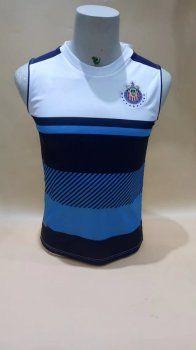 Chivas 2017-18 Season Blue Liga MX Sleeveless Shirt [K328]