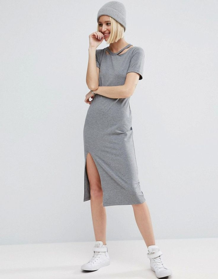 ASOS T-Shirt Dress with Ripped Neck - Gray