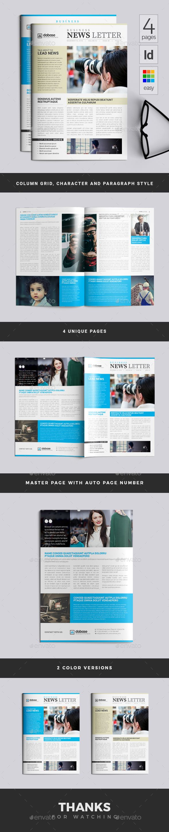 This newsletter contains 4 Custom Pages; A4 Size with (3mm) Bleed; 300DPI, CMYK and Print Ready; Fully Customizable: Editable Text, Color and Objects; Free Fonts and Column Grid Used; Master Page and Auto Page Numbers; Paragraph and Character Styles Source File Format: Indesign (Indd), (Idml) and PDF.