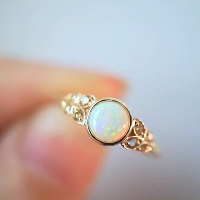 Opal Solitaire Ring With Pavé Diamond Band