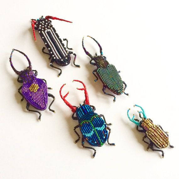 Beetle brooch.Embroidery brooch. insect jewelry.Original gift .Insect in the paper box. Entomology Natural History.Fashion