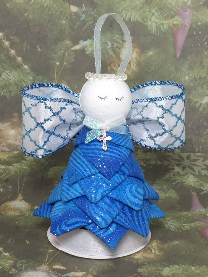 Handmade No Sew Quilted Ornament - Blue Angel