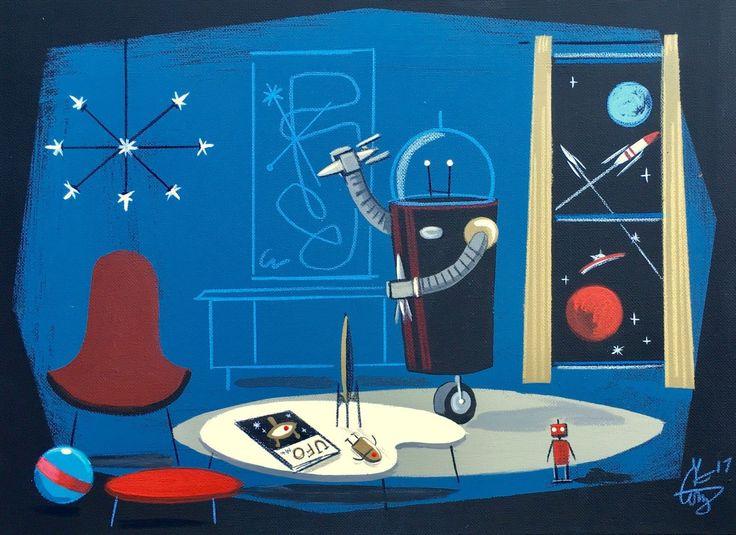 El gato gomez retro sci fi outer space robot toy mid for Retro outer space