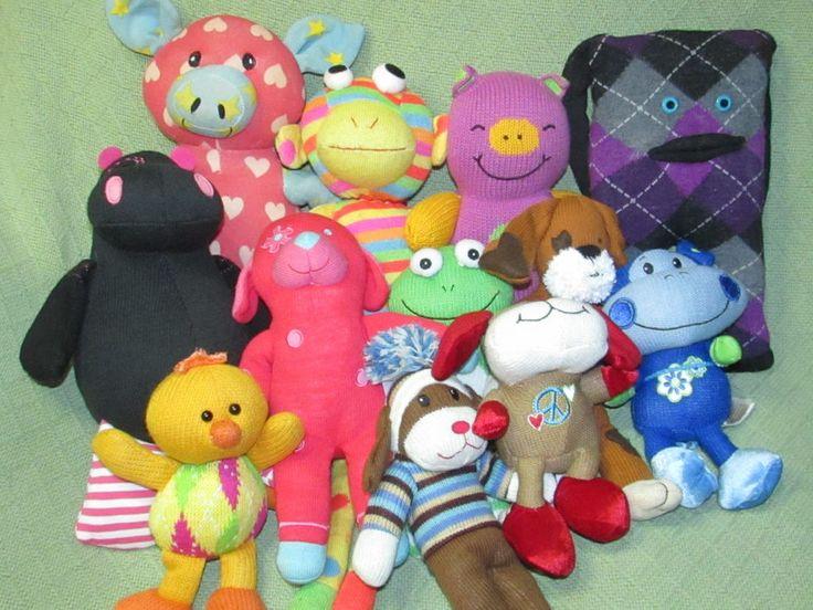 12 Sock Monkey Type Knit ANIMAL Lot Pottery Barn Lisa Long GUND LuLu Pigs Dogs + #GundDanDeeSCMAmyCoe