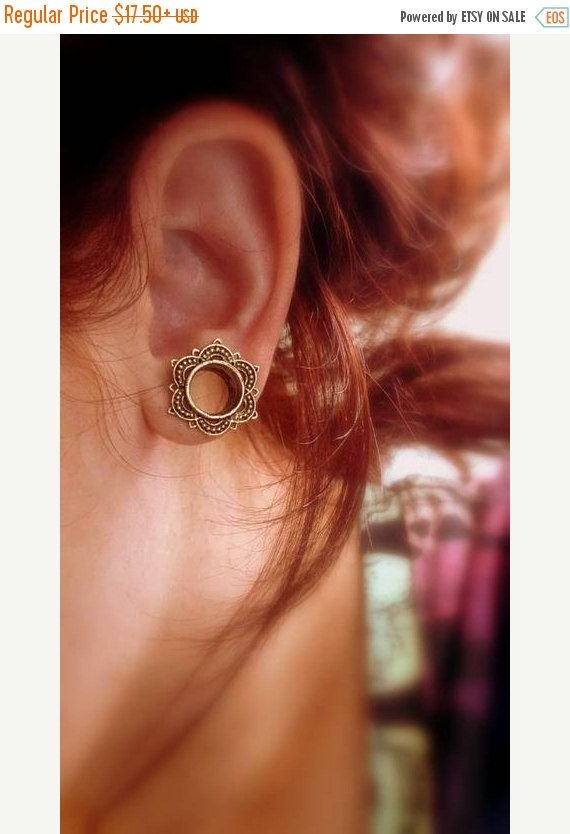 15%OFF Brass lotus ear tunnel single 4m-18mm 6g by Umanativedesign