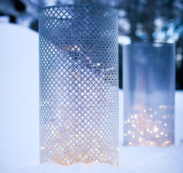 Check out a pair of small-effort, big-impact luminary projects.Aluminum Sheet, Diy Luminaries, Creative Ideas, White Lights, Holiday Lights, Christmas Lights, Winter Wonderland, Winter Wedding, Diy Lights