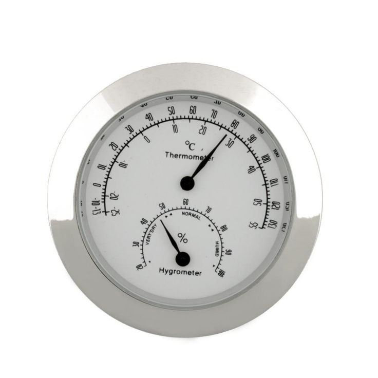 Round Moisture Thermometer Humidity Hygrometer Case For Guitar Violin Bass Portable New Alloy Silver