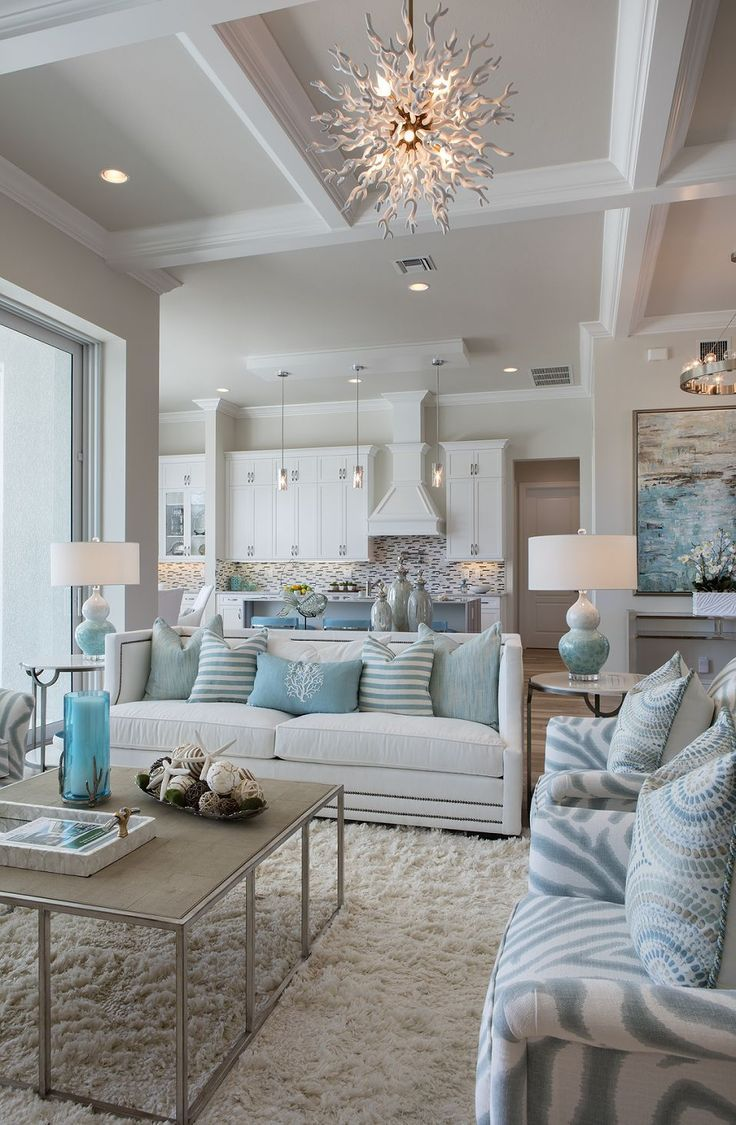 Light blue living room - Light Blue White Home Decor With Different Patterns And Textures Create A Calm And Serene