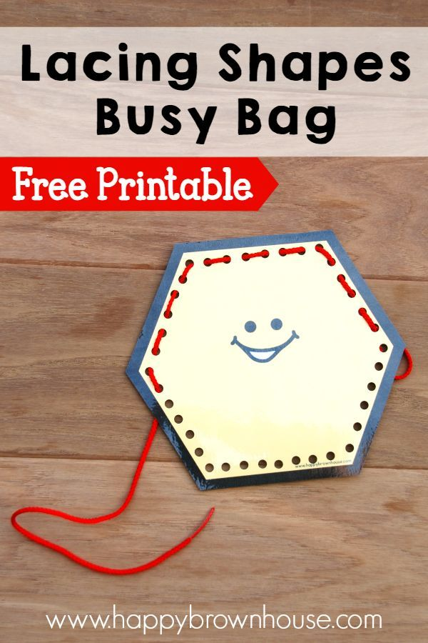 This free printable Lacing Shapes Busy Bag is perfect for strengthening fine motor skills and hand-eye coordination
