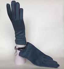 Smokey Blue Fabric Vintage Gauntlet Gloves Soft Cotton Fabric Lining Size 7.5