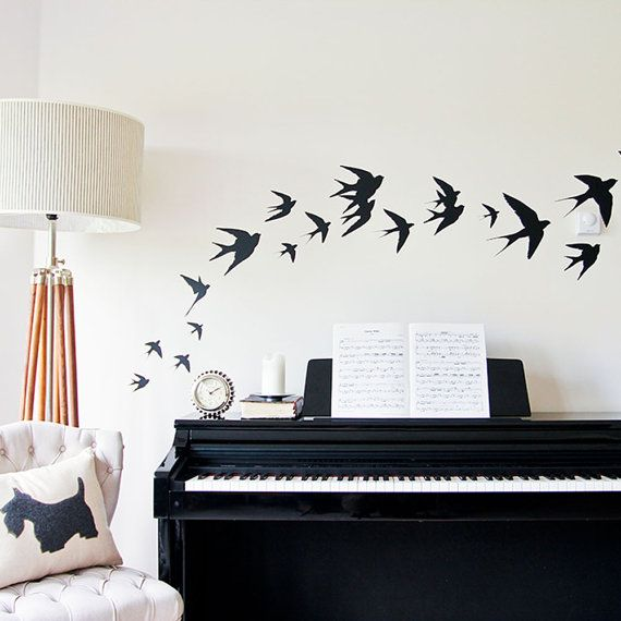 Items Similar To Flying Birds Vinyl Wall Stickers Swallows On Etsy Part 88