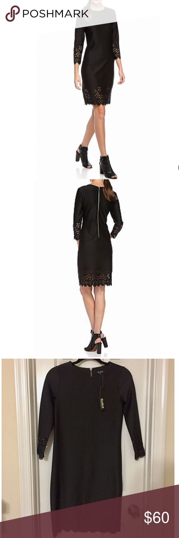 Allen B. Laser Cut Scuba Classic Evening Dress ABS Brand new with tags. SOLD OUT ONLINE! Very popular beautiful cocktail black dress by Allen B. By Allen Schwartz. Gorgeous laser cut details at the sleeve and hem. Size: XS. Original price: $99. Figure-skimming. Fit. Luxe scuba fabric. Approximately 38-inches in length. Zip closure. Boat neck. Three quarter set in sleeves. Unlined. Polyester and Spandex. ABS Allen Schwartz Dresses Midi