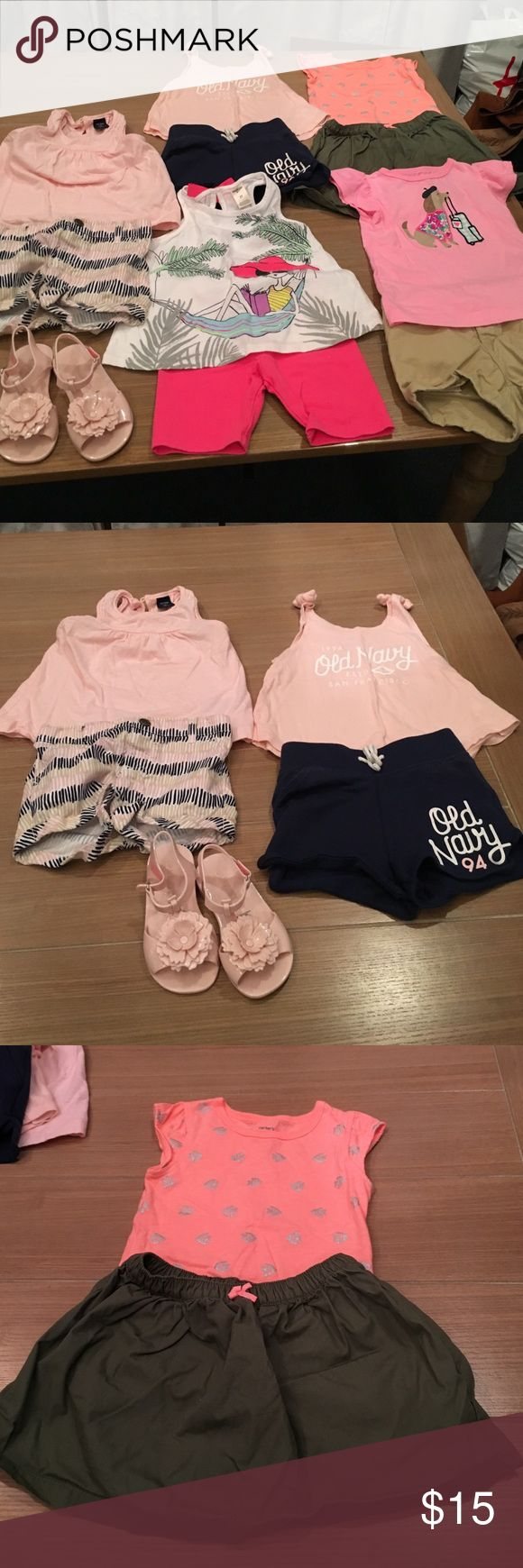Girls Summer Bundle!! 2t Everything is sized 2t and shoes are size 7 from Old Navy. The first two soft pink outfits are old navy (shirt with braided neck line is baby Gap). The third orange and army green skort set is Carters. The forth outfit with lady in hammock is Osh Kosh and last outfit with dog is a carters top and old navy bottom. Ask me anything! Bundle & Save!!! Old Navy Matching Sets