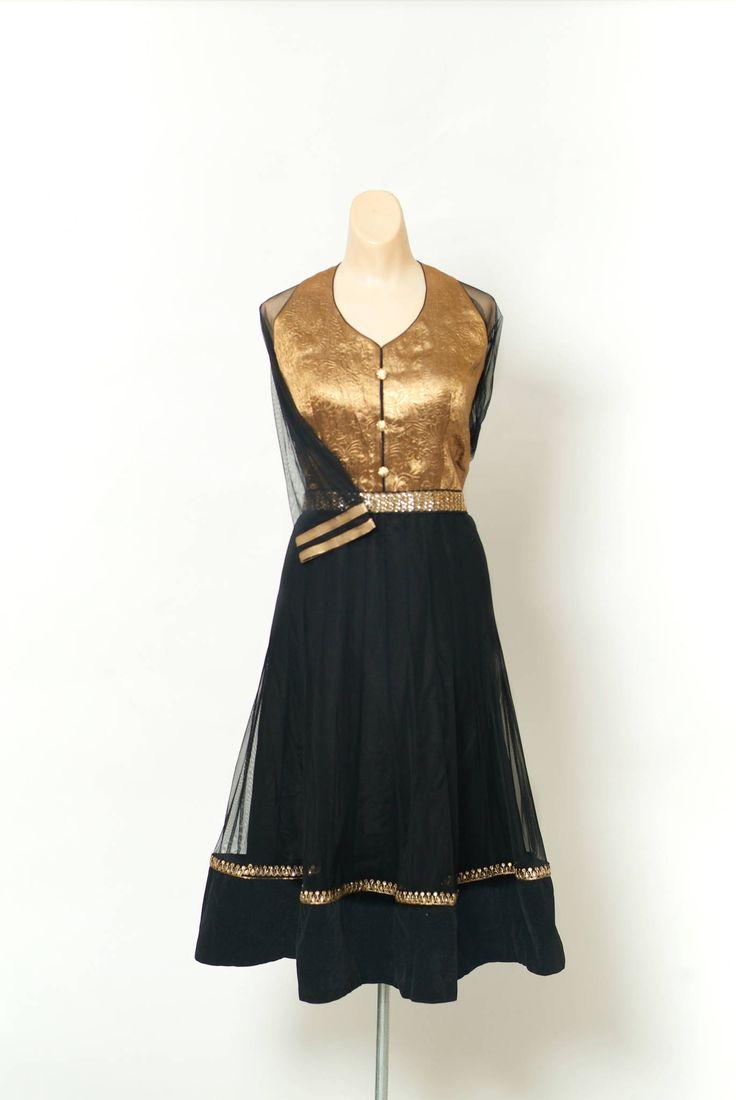 Indiase Bollywood jurk /Vintage-jurk / Black Gold / Bohemian /