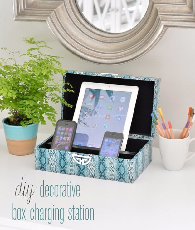 DIY Teen Room Decor Ideas for Girls | DIY Decorative Box Charging Station | Cool Bedroom Decor, Wall Art & Signs, Crafts, Bedding, Fun Do It Yourself Projects and Room Ideas for Small Spaces http://diyprojectsforteens.com/diy-teen-bedroom-ideas-girls