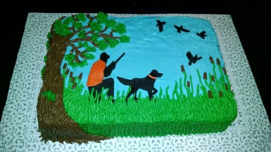 Quail Hunting Grooms cake with hunter and dog silouettes.