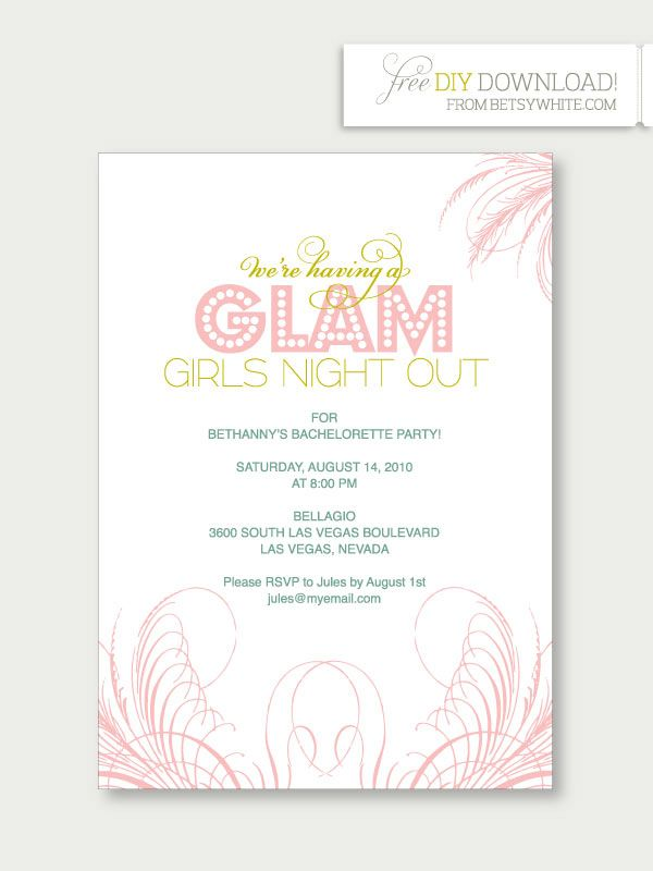glam girls night out diy party bachelorette party invitations