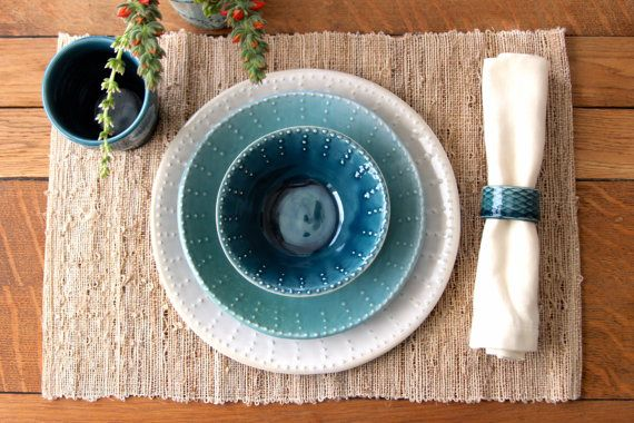 Hey, I found this really awesome Etsy listing at https://www.etsy.com/listing/185129204/handmade-dinnerware-ocean-blue-ombre
