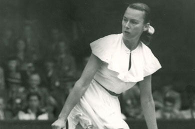 """Gertrude Agusta Moran, a leggy Californian who was promptly dubbed """"Gussie"""" by the British media. The word """"Gorgeous"""" was added when, dressed by the tennis fashion guru, Ted Tinling, she played the 1949 Championships."""
