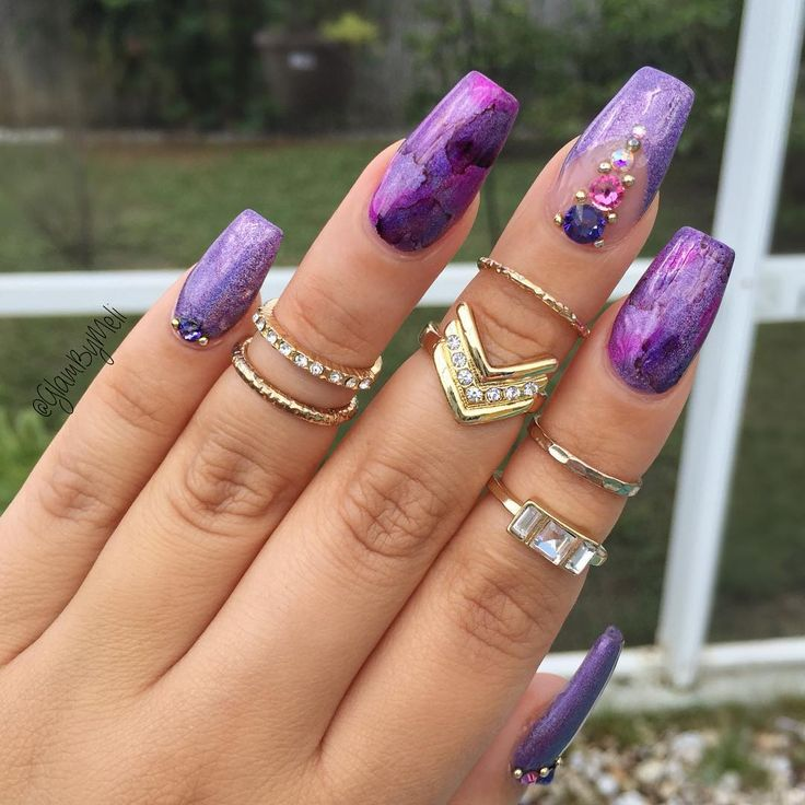 """Purple + Lavender + Fuchsia + Plum Long Coffin Nails. """"Ring Set: Target..✔️Holographic polish @colorclubnaillacquer ✔️Sharpie marker art with @swarovski ✔️Crystals from @skylinebeautysupply """" #nail #nailart"""