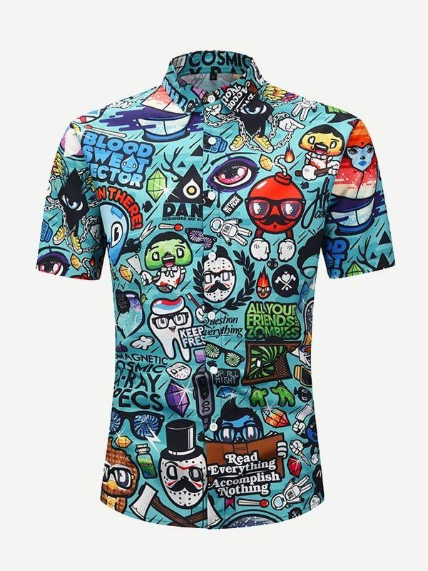c2913a77bca9e Men Cartoon Print Shirt Cartoon#Men#Shirt | Fashion Accessories ...