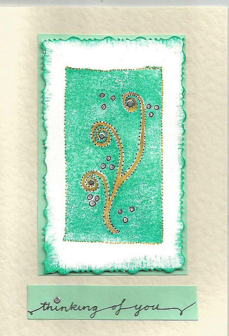 Thinking of you. Handmade fern stamp.