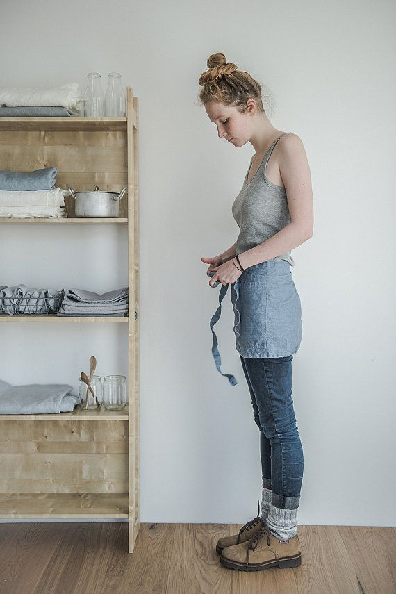 Linen cafe apron. Swedish blue washed natural by notPERFECTLINEN