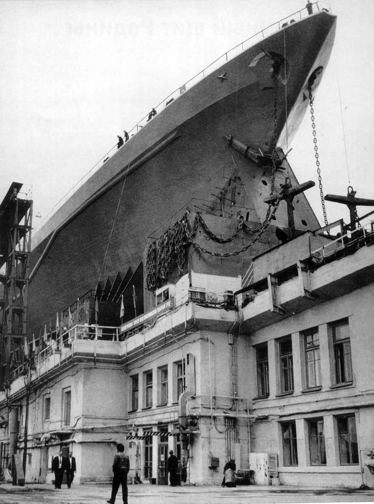 admiral ushakov on the ways at baltiysky naval shipyard in leningrad circa mid 1970s