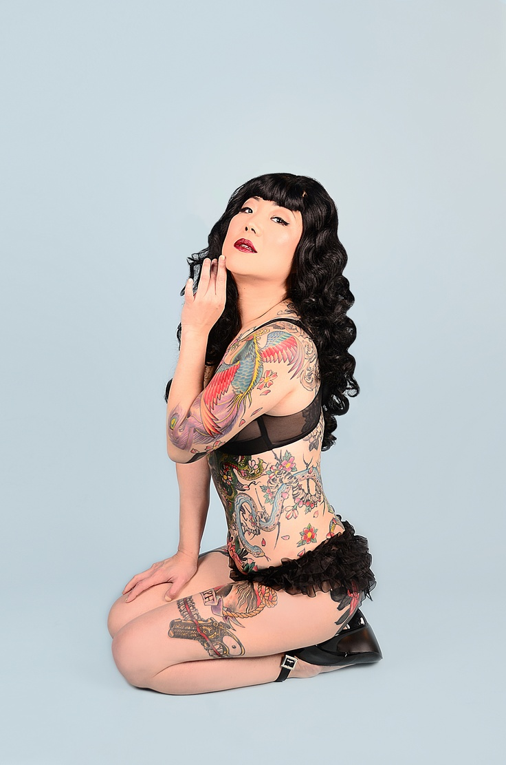 Margaret Cho by Miss Missy.  Love the tattoos and her panties.  Margaret Cho seems to have the best panties...I'd love to know where she buys them!