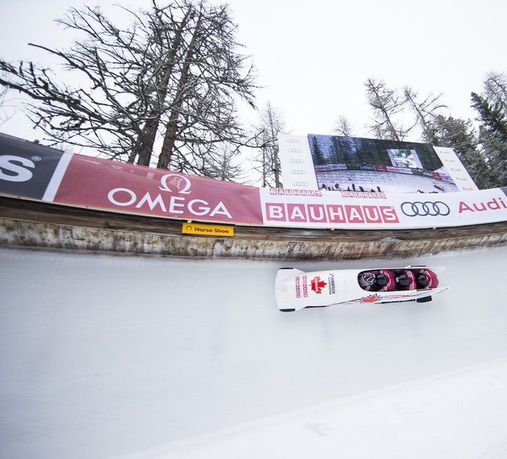 Canadians testing out the Sochi track.