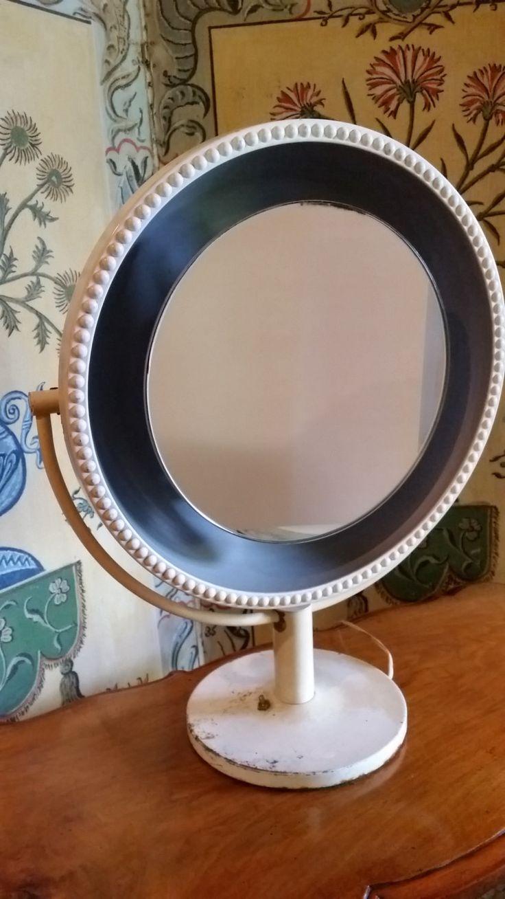 Mid Century Vanity Mirror - #MidCentury #VanityMirror Metal White Freestanding Vanity #MakeupMirror, Lighted Vanity Makeup Mirror, Dressing Mirror by WilliamsAntiquesCo on Etsy