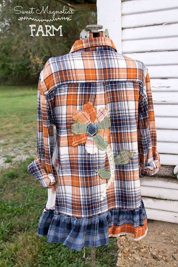 0b868839d00005 Upcycled Women's Flannel Shirt Tunic **saved for (rough-) flower applique -