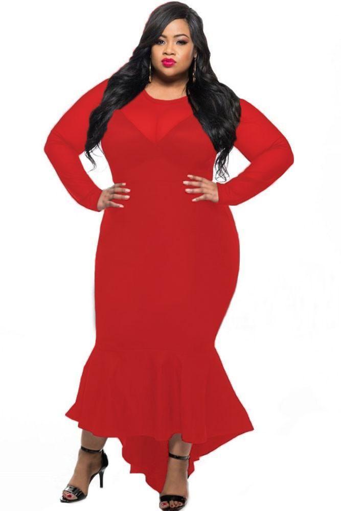 4e5aadeeab1 Chicloth Splice Curvy Mermaid Dress Red Sheer Mesh. Chicloth Splice Curvy Mermaid  Dress Red Sheer Mesh Long Sleeve ...