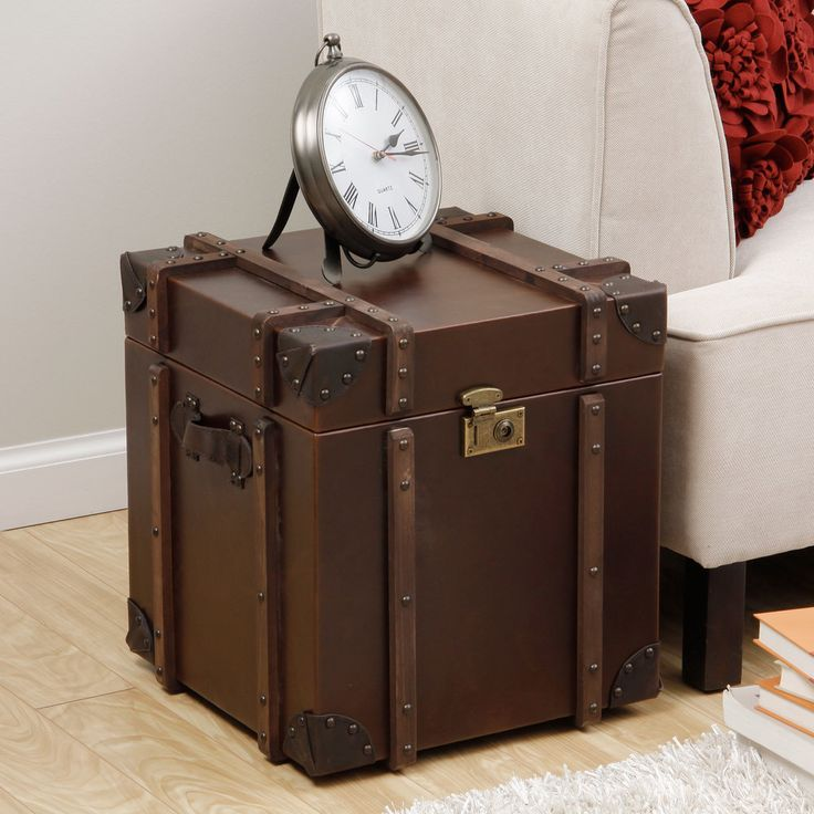 Beautiful Journey Vintage Tobacco Leather Trunk Side Table | Overstock.com Shopping    The Best Deals