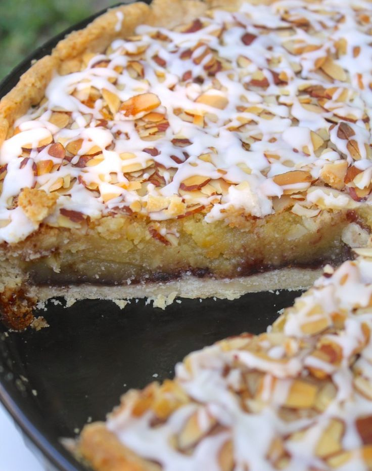 A lovely crust is topped with a layer of your favorite jam, then covered with a frangipane layer, topped with almonds and baked. Finally drizzled with a sugar icing, and devoured by anyone who sees it!