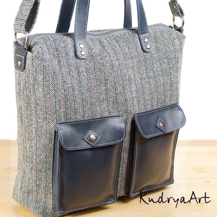 Серая твидовая сумка и темно-синие карманы. ~ KudryaArt. Авторские сумки и рюкзаки.