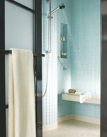 Turquoise shower tile