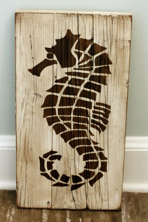 Laser cut seahorse on salvaged wood. Located inside Saltologie, 815 St N,  Jacksonville Beach, FL - 8 Best Images About Reclaimed Wood Signs On Pinterest