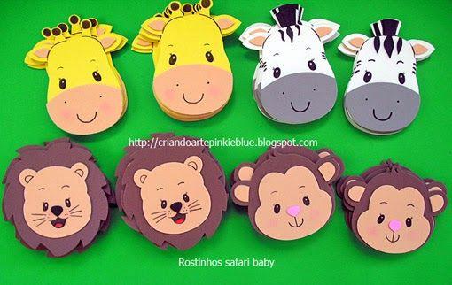 Apliques de eva.  Tema safari baby.  Carinhas de 10 cm. Macaco, zebra, girafa e leãozinho.