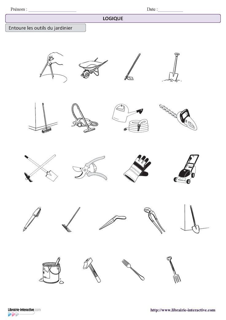 une petite activit de logique pour d terminer les outils du jardinier maternelle cycle 1. Black Bedroom Furniture Sets. Home Design Ideas