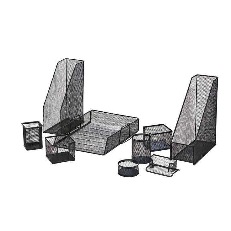 J.Burrows Metal Mesh Desk Accessory Set 5 Piece Black